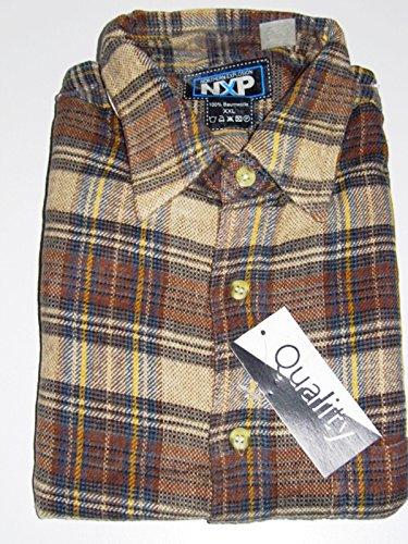 Herren-Flanell-Hemd Langarm NXP - Größe XXL - Reine Baumwolle - angerauht #124249