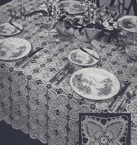 Vintage Crochet Pattern to make - Pineapple Tablecloth Motifs Blocks Squares. NOT a finished item. This is a pattern and/or instructions to make the item only.