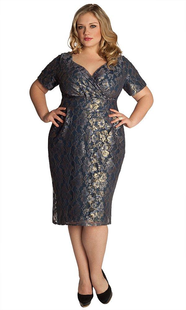 Женское праздничное платье больших размеров IGIGI Plus Size Melina Dress in Charcoal/Gold