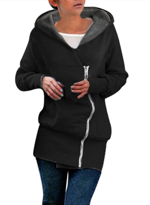 Miusol Damen Frühling Herbst Winter Jacke Mode Mantel Kapuzen Pullover Sweatshirts Grau/Schwarz Gr.36-50 günstig bestellen
