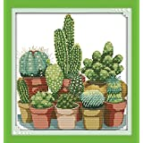 Joy Sunday Stamped Cross Stitch Kits,Cactuses Cross-Stitch Sets Embroidery Kit Needlework 11CT (Color: 11CT Stamped kit,Cactuses)