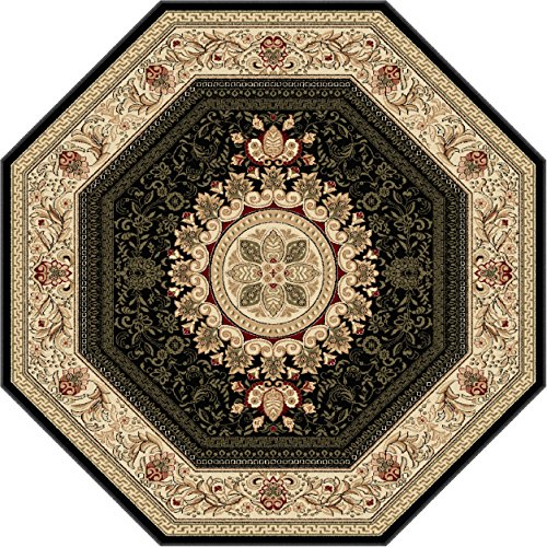 Universal Rugs 4673 Octagon Sensation Traditional Area Rug, 5-Feet 3-Inch, Black