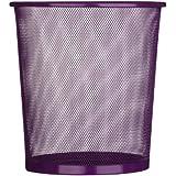 Waste Paper Basket Bin Purple In Mesh Design - Great For Office, Work, Home Use