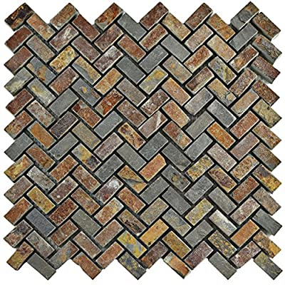 "SomerTile SCRHRSS Cliff Herringbone Sunset Slate Natural Stone Mosaic Floor and Wall Tile, 12"" x 12"", Grey/Brown/Red/Orange"