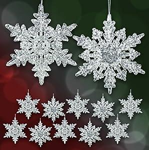 set of 12 acrylic iridescent snowflake