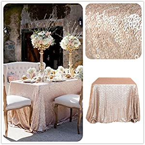Amazon.com: Overlays Champagne Sequin Table Cloth 90''x90