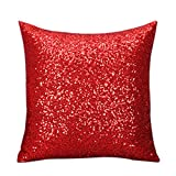 Magideal Fancy Sequins Sofa Square Pillow Cushion Cover Case Throw Home Decor Red