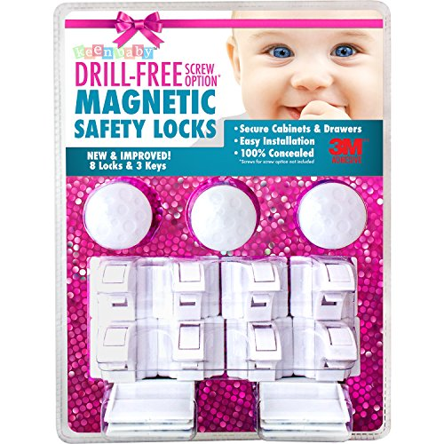 8 Locks & 3 Keys Drill-Free 3M-Adhesive Magnetic Safety Cabinet & Drawer Locks for Baby Proofing - From Keen Baby (Magnetic Baby Cabinet Lock compare prices)