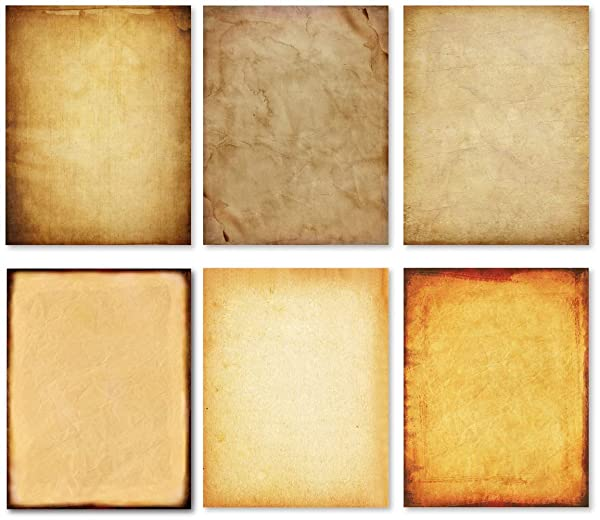 Stationary Paper - Old Fashion Aged Classic Antique & Vintage Assorted Design - Double-side Parchment Paper - Perfect for Certificate, Crafting, Invitations & other Art Projects - 8.5x11 Inches (60) (Tamaño: 8.5-x-11-Inch)