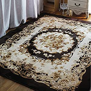 Ustide rustic garland area rug 3d floral for Living room rugs amazon