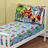 Marvel Super Hero Squad Marvel Toddler Fitted Sheet and Pillow Case, Blue