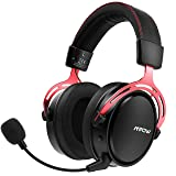 Wireless Gaming Headset for PS4, PC, with Double Chamber Drivers, Xbox One Headset with Detachable Noise Cancelling Microphone, Ultra Low-Latency Gaming Headphones (Included 3.5.mm Cable) (Color: Black)