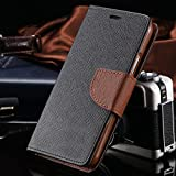 Vegus For Micromax Canvas Play 4G Q469 Flip Cover Mercury Wallet Dairy Case (Black & Brown)