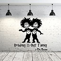 Dr Seuss Wall Decal Quote Vinyl Sticker Decals Quotes Reading Is Our Thing Wall Decal Quote Wall Decor Nursery Bedroom Baby Room ZX240