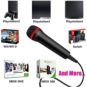 TPFOON 4M 13FT Wired USB Microphone for Rock Band, Guitar Hero, Let's Sing - Compatible with Sony PS2, PS3, PS4, Nintendo Switch, Wii, Wii U, Microsoft Xbox 360, Xbox One and PC (Color: Black)
