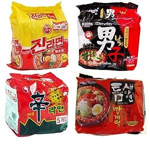 """Hot & Spicy Ramen Combo"" Shin Ramen(5) + Jin Ramen(Spicy) + Teumsae Ramen(5) + Namja Ramen(5)"