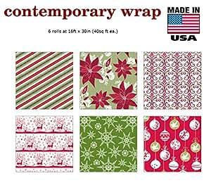 Amazon.com: Premium Christmas Gift Wrap Contemporary ...  Christmas Wrapping Paper For Men