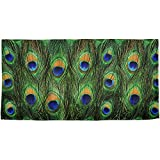 Peacock Feathers All Over Beach Towel