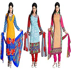 ZHot Fashion Women's Printed Un-stitched 3 Combo Dress Material In Cotton Fabric (ZH10-13-19) Multi