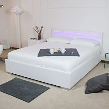 Group Design - cama York color blanco con marco de madera y cabezal luminoso FY-1008