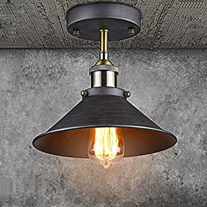 YOBO Lighting Industrial Edison Filament Vintage Mini 1-Light Flush Mount Ceiling Lamp Fixture, Antique Finish by YOBO Lighting