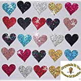 Mix 1 Pack = 24 Fabric Sequin 20mm Hearts Iron-On