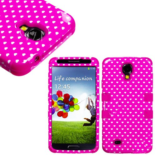 "myLife (TM) Hot Pink - White Hearts Design (3 Piece Hybrid) Hard and Soft Case for the Samsung Galaxy S4 ""Fits Models: I9500, I9505, SPH-L720, Galaxy S IV, SGH-I337, SCH-I545, SGH-M919, SCH-R970 and Galaxy S4 LTE-A Touch Phone"" (Fitted Front and Back Solid Cover Case + Internal Silicone Gel Rubberized Tough Armor Skin + Lifetime Warranty + Sealed Inside myLife Authorized Packaging) &quot at Amazon.com"