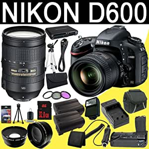 Nikon D600 24.3 MP CMOS FX-Format Digital SLR Camera with 24-85mm f/3.5-4.5G ED VR AF-S Nikkor Lens + Nikon 28-300mm f/3.5-5.6G ED VR AF-S Nikkor Zoom Lens + Two EN-EL15 Replacement Lithium Ion Battery + External Rapid Charger + Battery Grip + 32GB SDHC Class 10 Memory Card + 77mm Wide Angle Lens + 77mm 2x Telephoto Lens + 77mm 3 Piece Filter Kit + Mini HDMI Cable + Carrying Case + Full Size Tripod + External Flash + Multi Card USB Reader + Memory Card Wallet + Deluxe Starter Kit