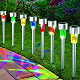 8Pack 4Color Stainless Steel Outdoor Solar Lights for Walkway Sogrand Solar Pathway Lights Solar Garden Lights Solar Walkway Lights Solar Garden Lights Solar Path Lights Solar landscape lights
