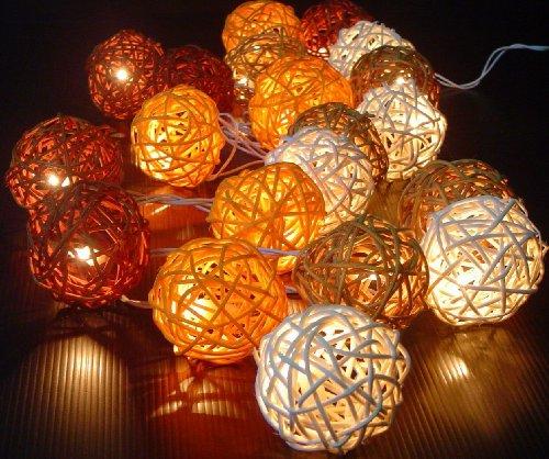 Storm Autumn Browns Rattan Cane Battery Powered Led Wooden Ball Fairy Light String 3M (9.9 Feet) Long