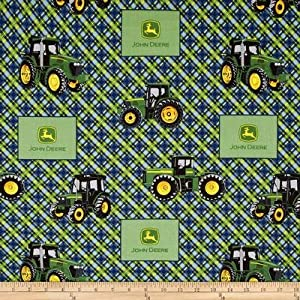 44'' Wide John Deere Everyday Diagonal Plaid Blue Fabric By The Yard