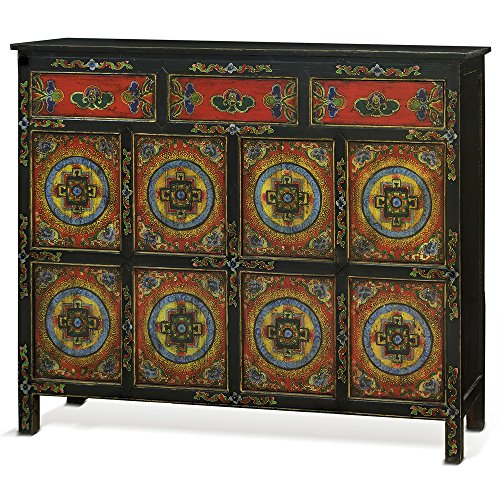 China Furniture Online Elmwood Cabinet, Hand Painted Floral Motif Tibetan Style High Chest Distressed Red and Black