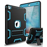 XIQI New iPad 9.7 2018 Case,iPad 6th Generation Case Three Layer Kickstand Armor Defender Heavy Duty Shock-Absorption Rugged Hybrid Protective Case for Apple iPad 9.7 2017/2018 Release,Black Blue (Color: Black Blue)
