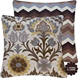 "Chloe & Olive Cinco de Mayo Outdoor Coco Brown Pillow Collection - Accent Decorative Couch Pillow - Ivory, Gray, Grey, Tan, Espresso and shades of brown Hues - Floral and Chevron Zig Zag (for a 20x20"" square insert)"