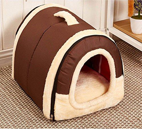 Cosy Weiche Hundehöhle mit ablösbarem Kissen für Hunde, Katzen (M, Reine Brown)