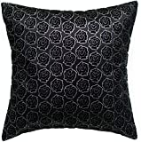Avarada Rose Twinkle Checkered Throw Pillow Cover Decorative Sofa Couch Cushion Cover Zippered 16x16 Inch (40x40 cm) Black