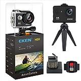 [New Version] EKEN H9R Action Camera 4K Wifi Full HD 4K 25fps 2.7K 30fps 1080P 60fps 720P 120fps Waterproof SportsCamera 12MP Photo and 170 Wide Angle Lens includes 11 Mountings Kit 2 Batteries Black (Color: Black)