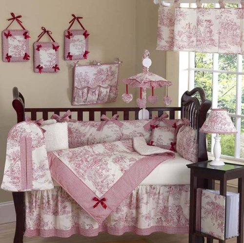 JoJo Designs 9-Piece Baby Crib Infant Bedding Set - Vintage French Red Toile