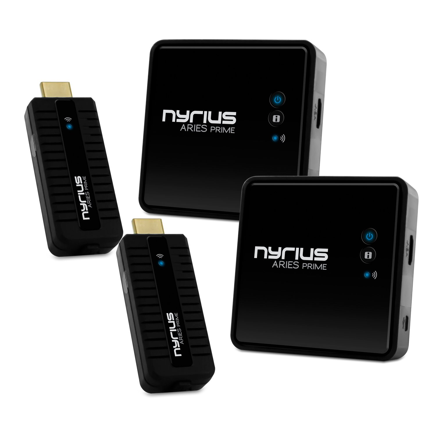 Nyrius Aries Prime Wireless Video HDMI Transmitter & Receiver for Streaming HD 1080p 3D Video & Digital Audio from Laptop, PC, Cable, Netflix, YouTube, PS4, Xbox One to HDTV - NPCS549 (Pack of 2)