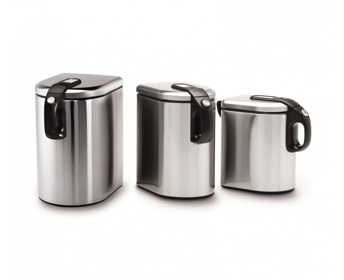 stainless steel canister sets starches and greens polder 174 brushed stainless steel window canisters set of 3