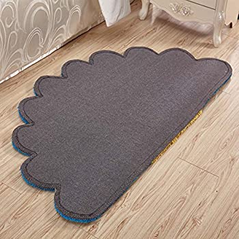 MAXYOYO 3D Colorful Semi-Circular Flower Floor Mats for Bedroom, Beautiful Fan-Shaped Bedside Rug Runner South Korea Bright Fluffy Silky Carpet Pad 32 by 59 Inch