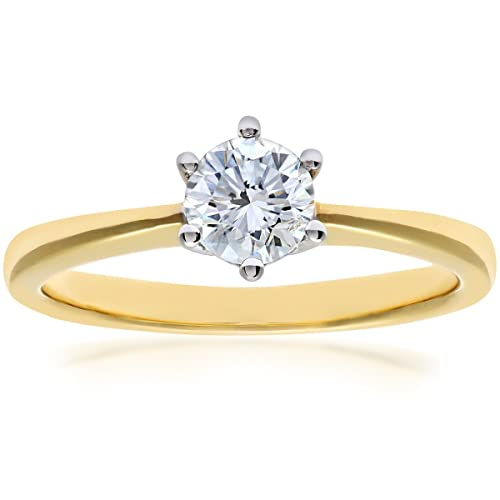 Naava 18ct 6 Claw Engagement Ring, G/SI3 EGL Certified Diamond, Round Brilliant, 0.61ct