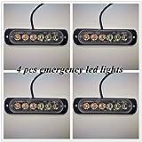 Vivid Light Bars 4 pcs 18W Car Trucks Emergency Warning Strobe Light 6 LEDs Flashing LED Lights for Off-Road Vehicles Van White & Blue (Color: 6: White+Blue, Tamaño: 4 pcs)