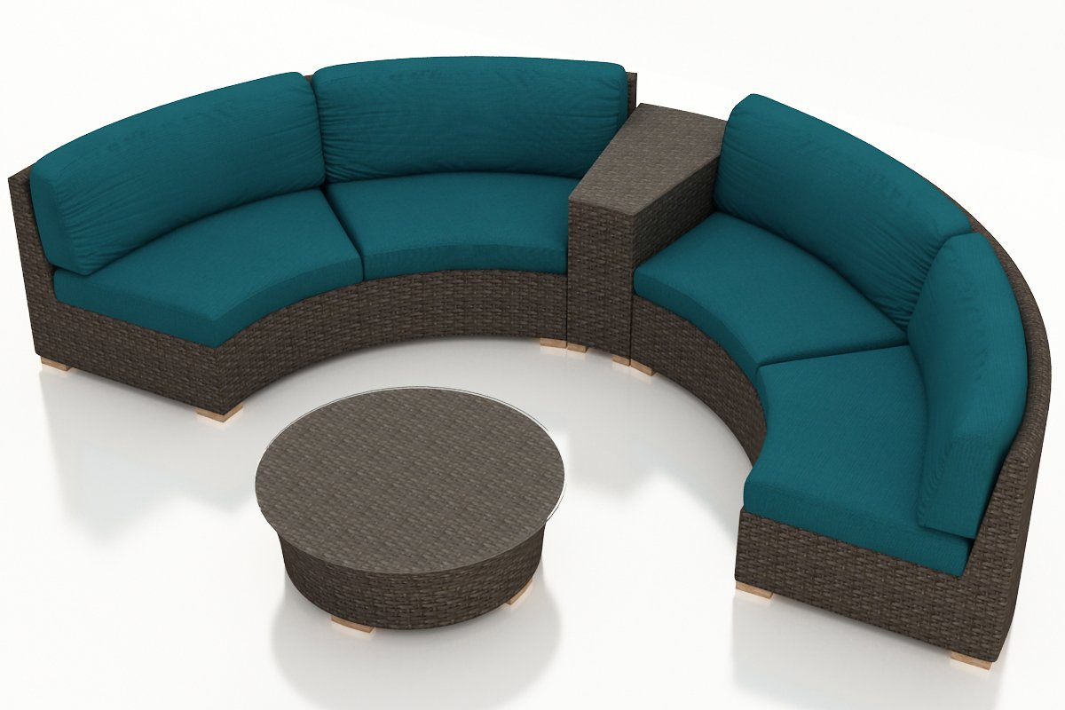 Harmonia Living 4 Piece Arden Curved Sectional Set - Spectrum Peacock Cushions