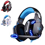 KATION Each G2200 Gaming Headset Stereo Gaming Noise-Cancelling Wired PC Gaming Headset with LED Light for Laptop / PS4 (Blue) (Color: Blue)