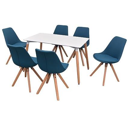 vidaXL 7-tlg. Essgruppe Sitzgruppe Esszimmer Esstischset Stuhle Weiß und Blau