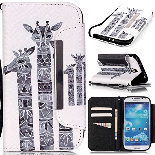 アイビー Samsung Galaxy サムスン ギャラクシー S4(i9500)SC-04E SIV 対応ケース カバー 「キリン」 PUレザー 手帳型 ケース カバー 磁気フリップ閉鎖 ストラップ付き カッド/IDスロットが付き 防塵 保護 ケース カバー Samsung Galaxy サムスン ギャラクシー S4(i9500)SC-04E SIV 用