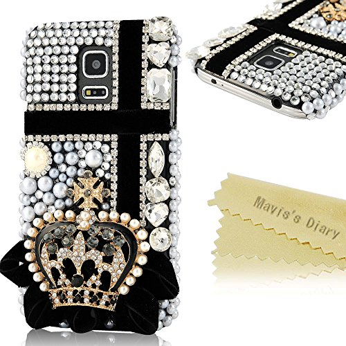 (Not For S5)Mavis'S Diary 3D Handmade Bling Crystal Crown Rhinestone Cross Diamond Hard Case Black Cover For Samsung Galaxy S5 Mini Sm-G800 Sm-G800F With Soft Clean Cloth (Crown With Cross)