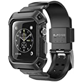 Apple Watch 3 Case 38mm, SUPCASE [Unicorn Beetle Pro] Rugged Protective Case with Strap Bands for Apple Watch Series 3 2017 Edition [38mm, Compatible with Apple Watch 38mm 2015 2016 ] (Black) (Color: Black)