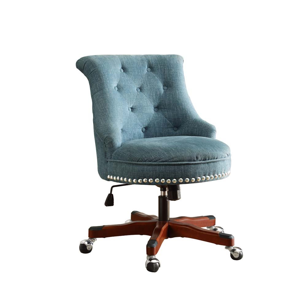 Linon Sinclair Office Chair Aqua - Dark Walnut Wood Base 0